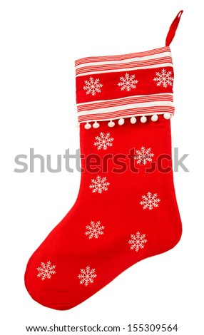 red christmas sock with snowflakes for Santa gifts on white background. holidays symbol - stock photo