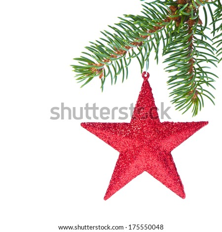 red christmas star hanging from tree isolated on white background - stock photo