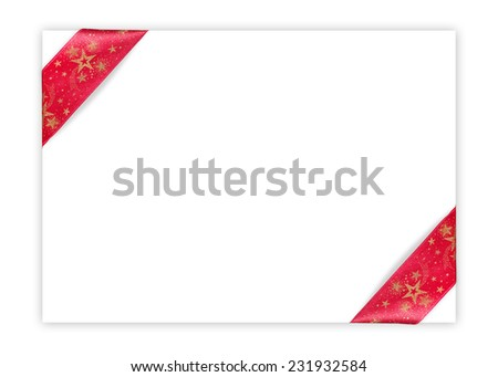 Red Christmas starred corner ribbons on isolated blank white sheet - stock photo