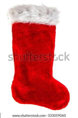 Red christmas stocking. Decoration object isolated on white background. Winter holidays symbol - stock photo