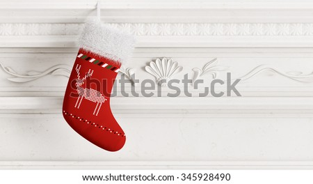 Red christmas stocking hanging on carved stone fireplace 3d rendering - stock photo
