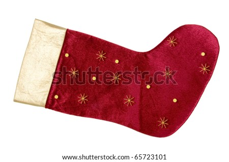 red christmas stocking on white - stock photo