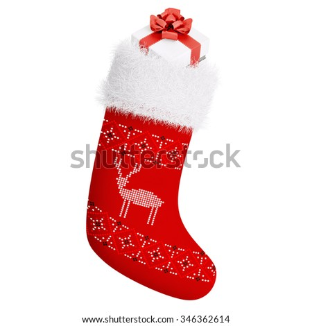 Red christmas stocking with gift isolated over white 3d rendering - stock photo