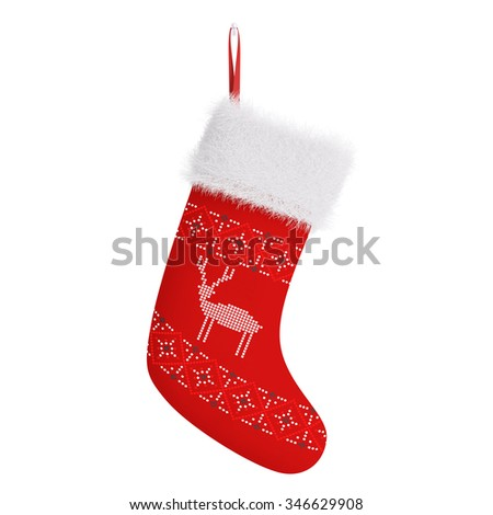 Red christmas stocking with pattern isolated over white 3d rendering - stock photo