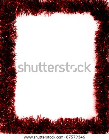 red christmas tinsel garland decoration - stock photo