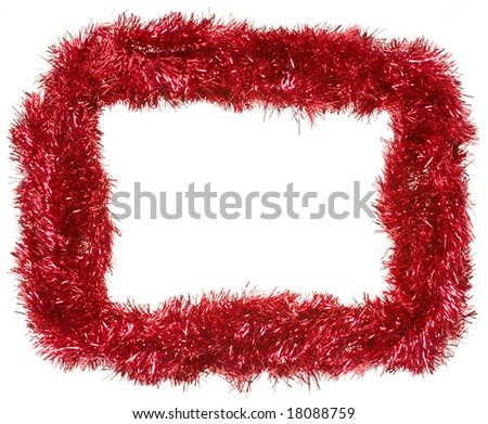 Red Christmas tinsel garland, forming a rectangular frame with center and outside copy space, isolated on white background (isolation done in-camera) - stock photo