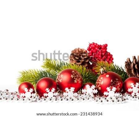 red christmas tree and balls on white. studio shot - stock photo
