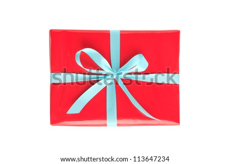 Red Christmas (Valentine's Day) Gift Box With Blue Ribbon Isolated On White Background - stock photo
