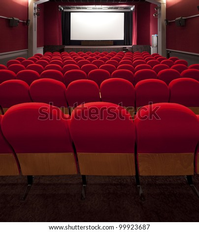 red cinema empty projection screen for insert a picture