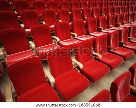red cinema or theatre empty seats. 3D render.
