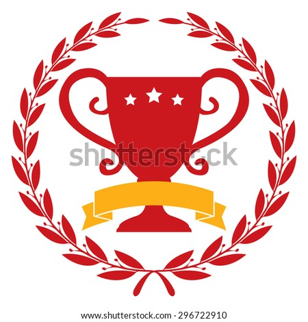 Red Circle Blank Empty Wheat Laurel Wreath With Trophy and Ribbon Icon, Label, Sticker, Banner, Sign or Label Isolated on White Background