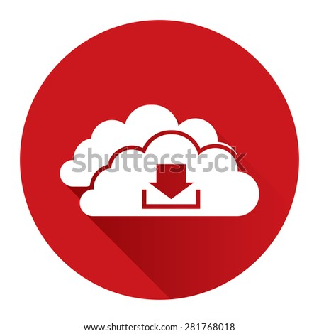 Red Circle Cloud Computing With Download Flat Long Shadow Style Icon, Label, Sticker, Sign or Banner Isolated on White Background - stock photo
