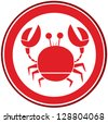 Red Circle Crab Logo. Raster Illustration.Vector Version Also Available In Portfolio. - stock photo