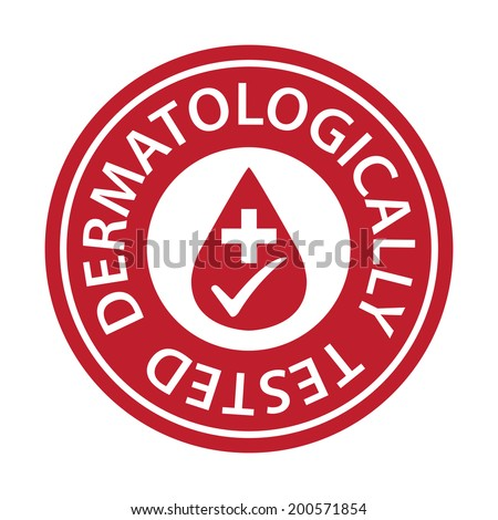 Red Circle Dermatologically Tested Icon, Sticker or Label Isolated on White Background - stock photo