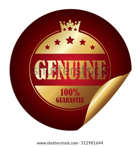 Red Circle Genuine 100% Guarantee Infographics Peeling Sticker, Label, Icon, Sign or Badge Isolated on White Background - stock photo