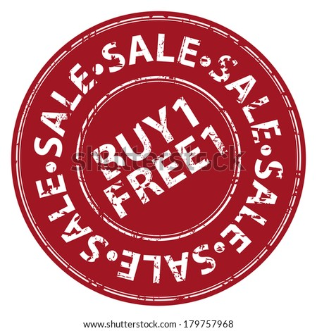 Red Circle Grunge Style Buy 1 Free 1 Sale Icon, Label, Stamp or Sticker Isolated on White Background  - stock photo