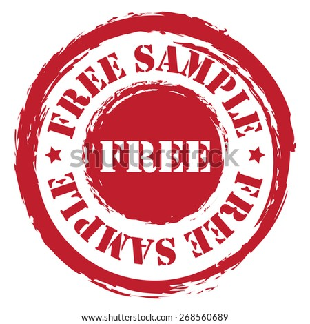 red circle grungy free sample stamp sticker icon or label isolated on white background