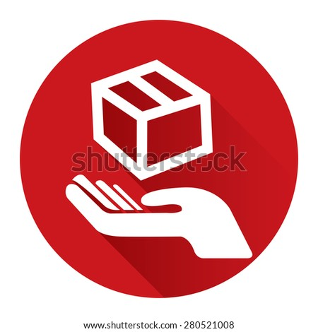 Red Circle Hand With Box, Handle With Care, Do Not Drop Flat Long Shadow Style Icon, Label, Sticker, Sign or Banner Isolated on White Background - stock photo
