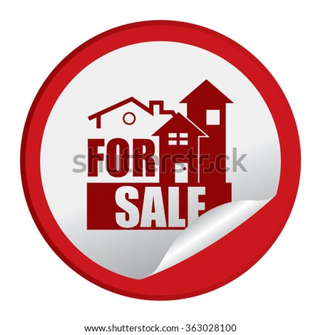 Red Circle Home or Office For Sale Product Label, Infographics Flat Icon, Peeling Sticker, Sign Isolated on White Background  - stock photo