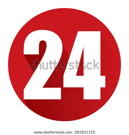 Red Circle 24, 24HR, 24HRS, 24 Hours Service, 24 Hours Open Long Shadow Style Icon, Label, Sticker, Sign or Banner Isolated on White Background - stock photo