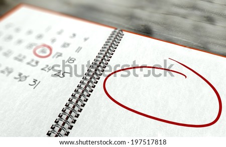 Red circle marked important day calendar concept - stock photo