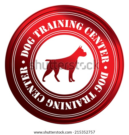 Red Circle Metallic Style Dog Training Center With Dog Sign Icon, Sticker or Label Isolated on White Background