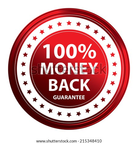 Red Circle Metallic Style 100 Percent Money Back Guarantee Icon, Sticker or Label Isolated on White Background