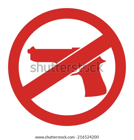 Red Circle No Gun Prohibited Sign, Icon or Label Isolate on White Background  - stock photo