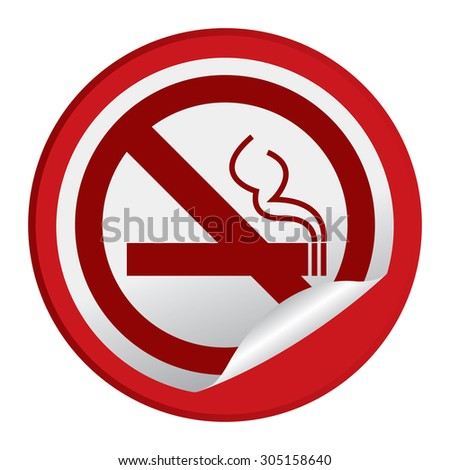 Red Circle No Smoking Prohibited Sign Infographics , Sticker, Icon or Label Isolated on White Background  - stock photo