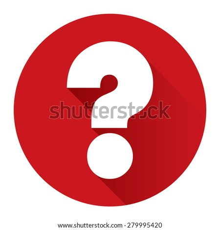 Red Circle Question Mark Flat Long Shadow Style Icon, Label, Sticker, Sign or Banner Isolated on White Background - stock photo