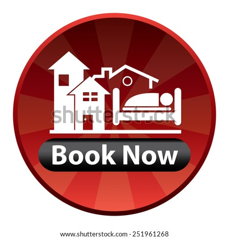 Red Circle Shiny Style Book Now With Hotel Sign Icon, Sticker or Label Isolated on White Background  - stock photo