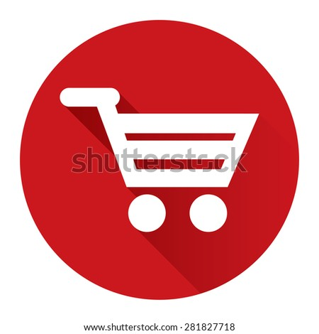 Red Circle Shopping Cart, Supermarket, Online Shopping Flat Long Shadow Style Icon, Label, Sticker, Sign or Banner Isolated on White Background - stock photo