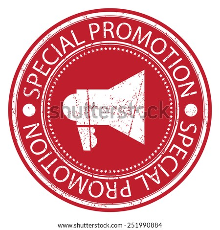 Red Circle Special Promotion Grunge Sticker, Rubber Stamp, Icon, Tag or Label Isolated on White Background - stock photo