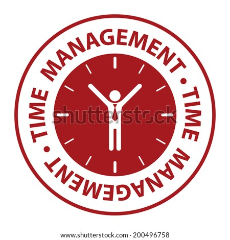 Red Circle Time Management Icon, Sticker or Label Isolated on White Background - stock photo