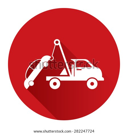 Red Circle Tow Car Service Flat Long Shadow Style Icon, Label, Sticker, Sign or Banner Isolated on White Background - stock photo