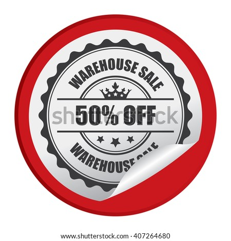 Red Circle Warehouse Sale 50% Off Product Label, Campaign Promotion Infographics Flat Icon, Peeling Sticker, Sign Isolated on White Background  - stock photo