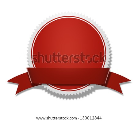 Red circular award and prize medal with ribbon and blank space for your copy, adv and text on white background with clipping path. - stock photo