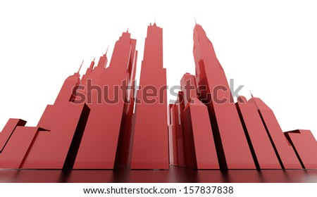 Red city concept rendered on white - stock photo