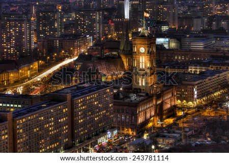 Red City Hall of Berlin at night - stock photo