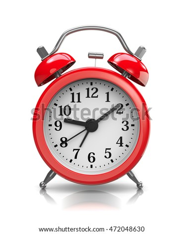 Red Classic Alarm Clock on White Background 3D Illustration