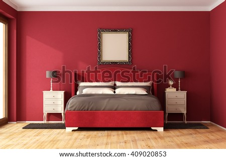 Red Classic Bedroom with elegant bed and nightstand - 3D Rendering