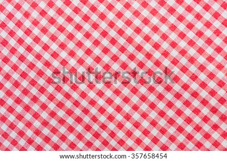 Red classic checkered tablecloth texture, background with copy s - stock photo