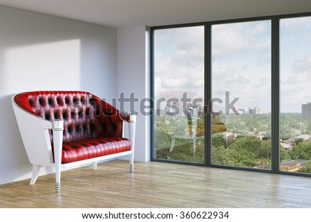 Red classic leather sofa in white walls interior room with urban city view. 3d render - stock photo