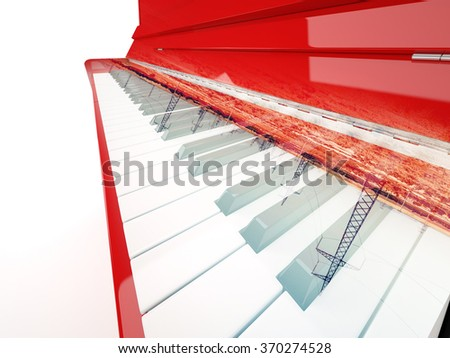 Red classical piano and power lines pylons double exposure color image - stock photo