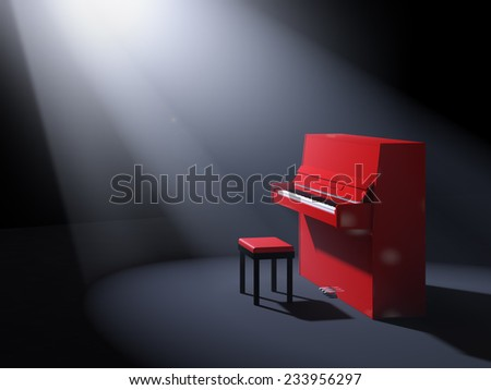 Red classical upright piano with chair on stage illuminated by ray of light