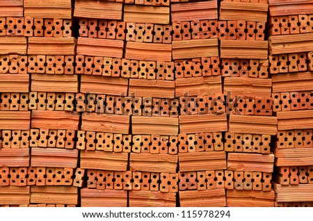 Red Clay Bricks background - stock photo