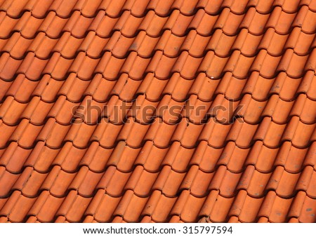 Red Clay Tile Roof on Old Farm House in Obliquely Perspective