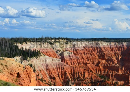 Red cliffs at Cedar Breaks National Monument. - stock photo