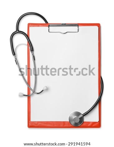 Red clipboard and stethoscope isolated on white - stock photo