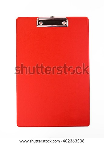 Red clipboard isolated on white background